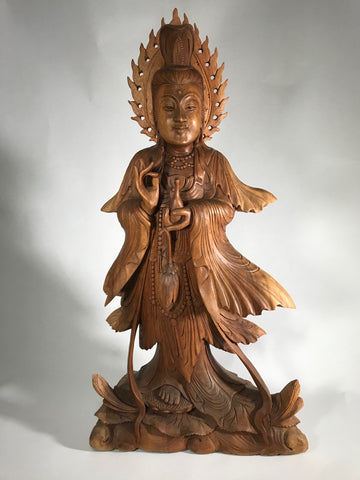 "Wood Kuan Yin Statue Holding Vase & Lotus 33"" - Routes Gallery"