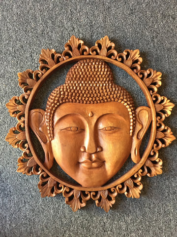 Buddha Face Handcarved Wood Relief 16.75""
