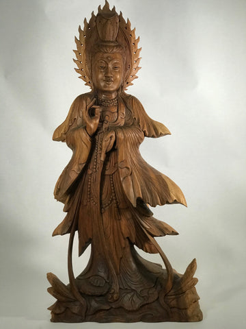 Wood Kuan Yin with Pouring Vase Statue 33""