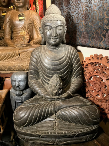 "Stone Meditation Buddha with Lotus Offering 28"" - Routes Gallery"