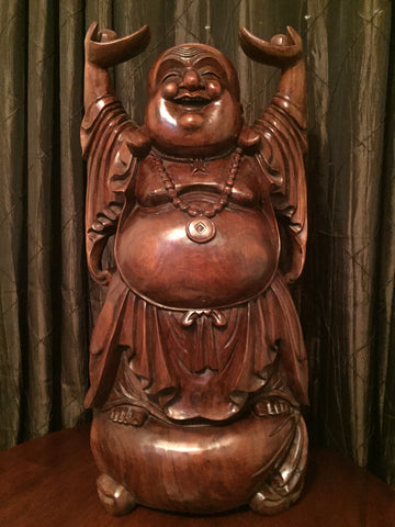 Standing Wood Laughing Happy & Fat Buddha 33""