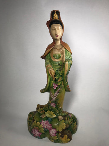 Wood Painted Standing Quan Yin Statue 16.5""