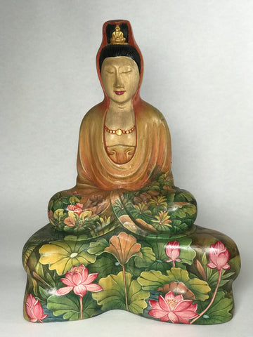 "Wood Painted Meditating Quan Yin Statue 10.25"" - Routes Gallery"