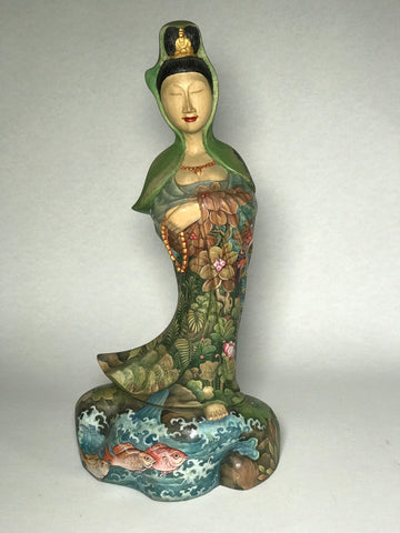 Wood Painted Standing Quan Yin Statue 12.5""