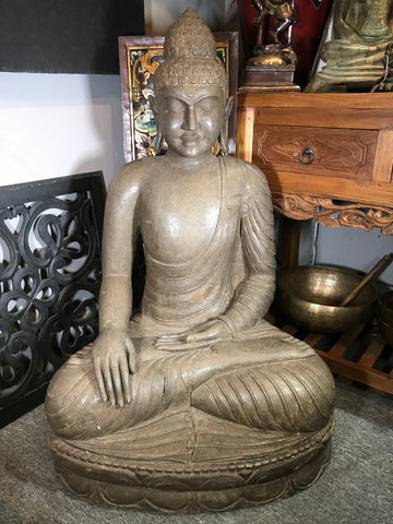 "Stone Earth Touching Buddha Sculpture 40"" - Routes Gallery"