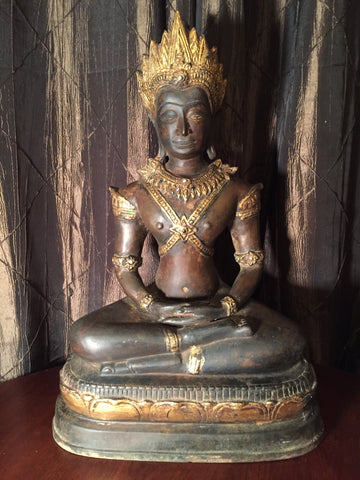 Bronze Meditating Angkor Wat Crown Buddha Statue 21""