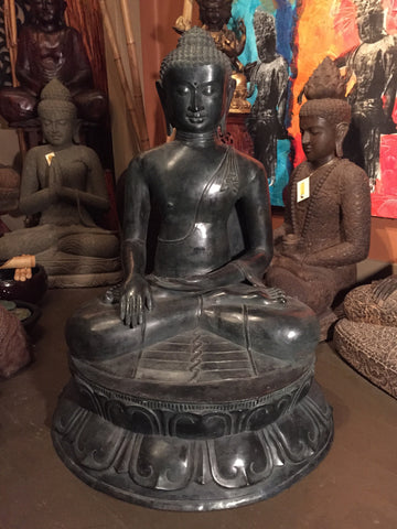 "Brass Large Earth Touching Buddha 39"" - Routes Gallery"