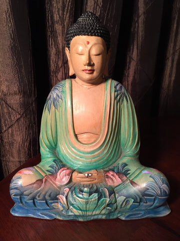Meditating Buddha Statue with Painted Robes 8.25""
