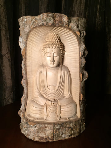 Natural Wood Meditating Buddha Sculpture 12""
