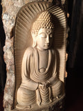 "Natural Wood Meditating Buddha Sculpture 12"" - Routes Gallery"