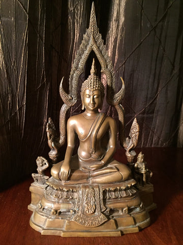 Bronze Earth Touching Phitsanulok Buddha Statue 12""