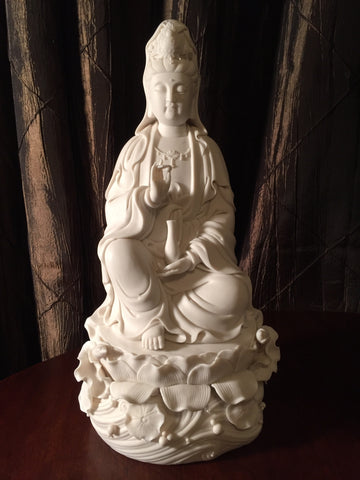 White Porcelain Sitting Quan Yin 14""