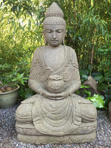 Stone Meditating Garden Buddha with Offering Bowl 40\