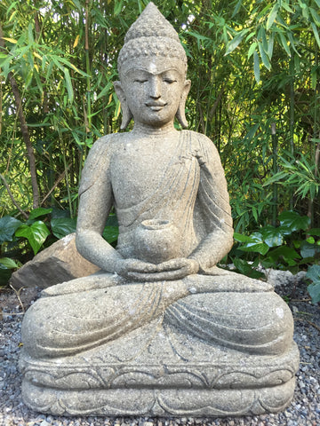 Stone Meditating Garden Buddha with Offering Bowl 38\