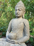 Stone Meditating Garden Buddha with Offering Bowl 38""