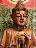 "Large Wood Seated Buddha Statue 52"" - Routes Gallery"