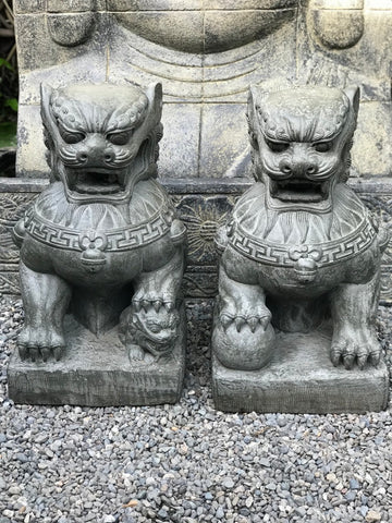 "Foo Dog Lion Guardian Statue Pair 22.5"" - Routes Gallery"