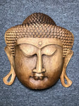 "Wood Buddha Face Mask Wall Hanging 12"" - Routes Gallery"