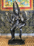"Brass Dancing Trimurti Devi Statue with 8 Arms 23"" - Routes Gallery"