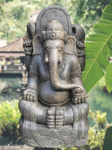"Stone Seated Ganesh Garden Statue 42"" - Routes Gallery"