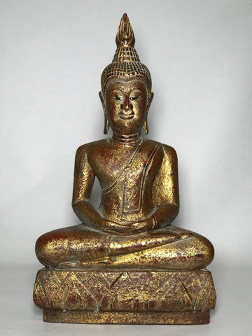 "Wood Meditating Lanna Thai Buddha Statue 18.5"" - Routes Gallery"