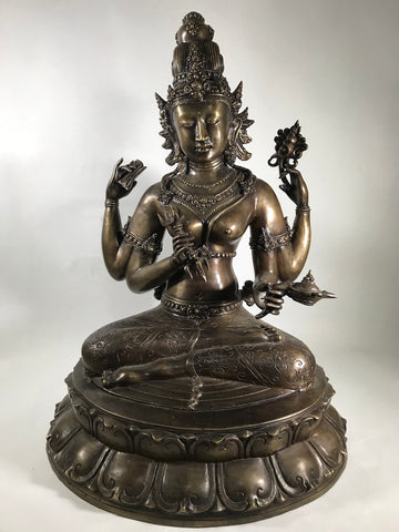 "Seated Brass Dakini Goddess 27"" - Routes Gallery"