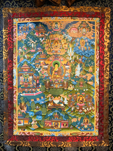 Life of the Buddha Thangka Painting - Routes Gallery