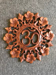 Om Frangipani Lotus Wood Relief Panel 15""