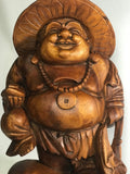 "Wood Happy Laughing Buddha with Hat 16"" - Routes Gallery"