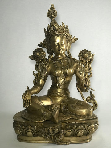 "Brass Green Tara Statue 18"" - Routes Gallery"