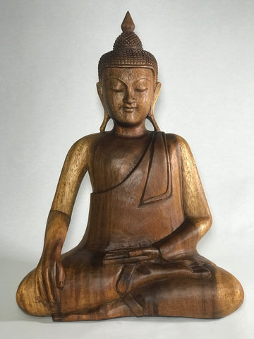 "Wood Earth Touching Buddha Statue 18"" - Routes Gallery"
