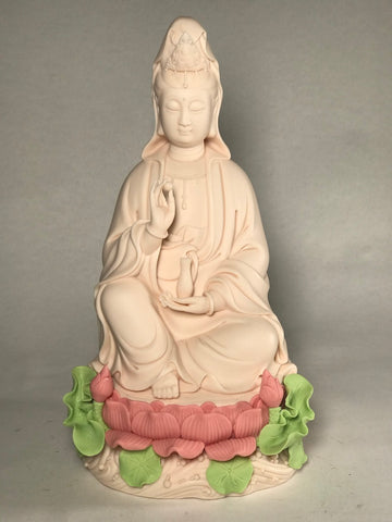 "Porcelain Seated Quan Yin Statue 9"" - Routes Gallery"