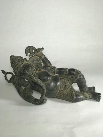 "Brass Reclining Ganesh Statue 12"" - Routes Gallery"