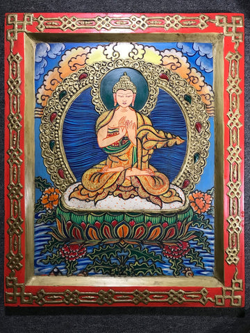 Vairochana Buddha Embossed Painting - Routes Gallery