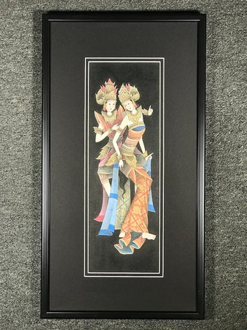 Rama & Sita Framed Balinese Painting - Routes Gallery