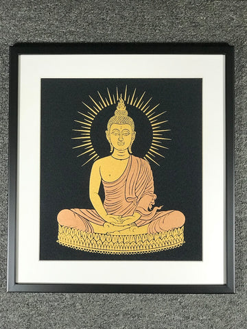Framed Sukhothai Meditation Buddha Art Print - Routes Gallery