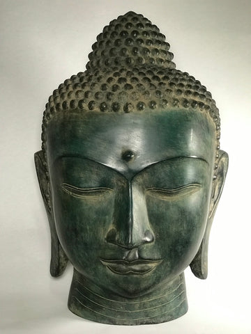 "Brass Buddha Head Statue Large 22"" - Routes Gallery"