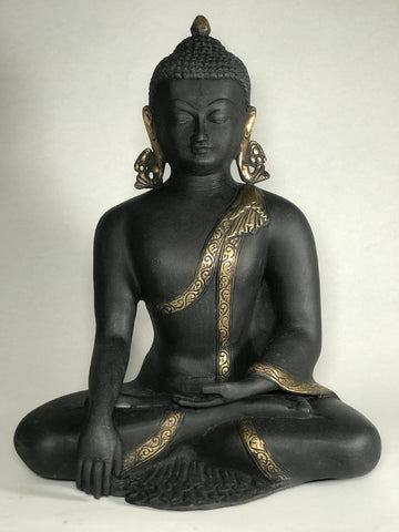 "Brass Seated Earth Witness Buddha Statue 12.5"" - Routes Gallery"