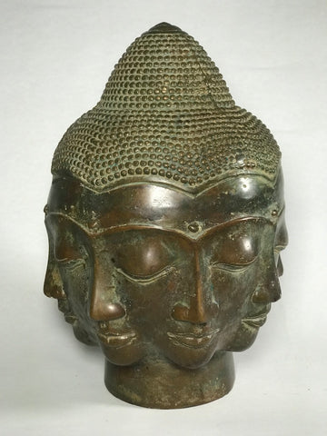 Brass Buddha Head with Eight Faces 10""