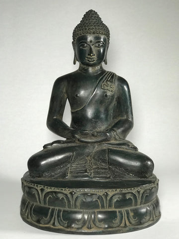 "Brass Serene Seated Meditating Buddha 11.5"" - Routes Gallery"