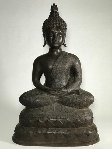 "Brass Meditating Dhyana Buddha Statue 16"" - Routes Gallery"