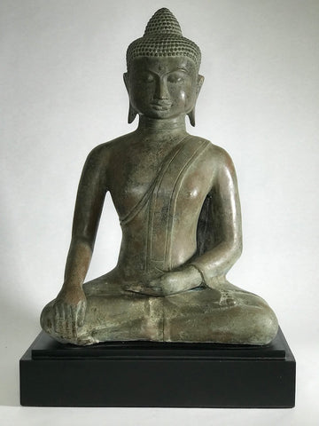 "Brass Seated Earth Witness Buddha Statue 19"" - Routes Gallery"