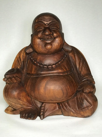 Wood Fat Laughing Happy Buddha Statue 12""