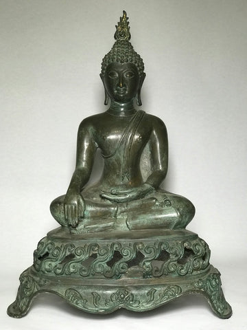 Brass Earth Touching Sukhothai Buddha 18""