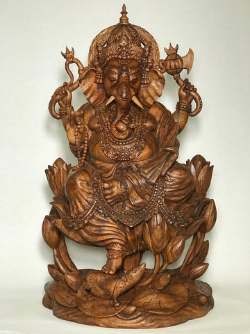 "Wood Handcarved Seated Ganesh Statue 25"" - Routes Gallery"