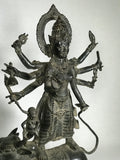 "Brass Durga Statue Standing on Nandi Bull 16"" - Routes Gallery"