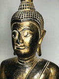 "Wood Meditating Lanna Thai Buddha Statue 18"" - Routes Gallery"