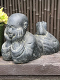 "Stone Relaxing Monk Garden Statue 16"" - Routes Gallery"
