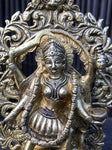 Brass Kali Statue Standing on Corpse of Shiva 8""