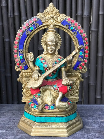 "Brass Saraswati Playing Veena with Arch 10"" - Routes Gallery"